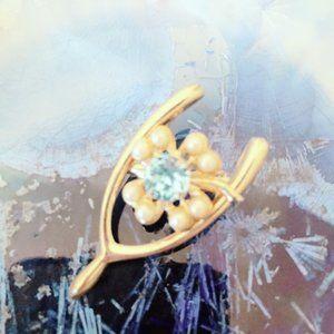 Gold Tone Vintage Wishbone Pin Brooch